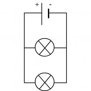 exemple de circuit en dérivation avec une pile et deux lampes