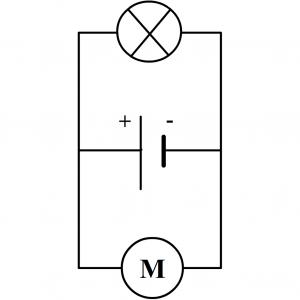 exemple de circuit en dérivation avec une pile, un moteur et une lampe