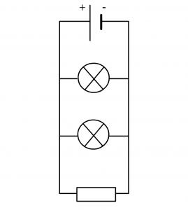 exemple de circuit en dérivation avec une pile, une résistance et deux lampes