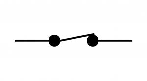 Symbole normalisé d'un interrupteur fermé