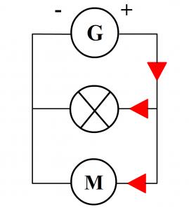 sens du courant dans un circuit en dérivation