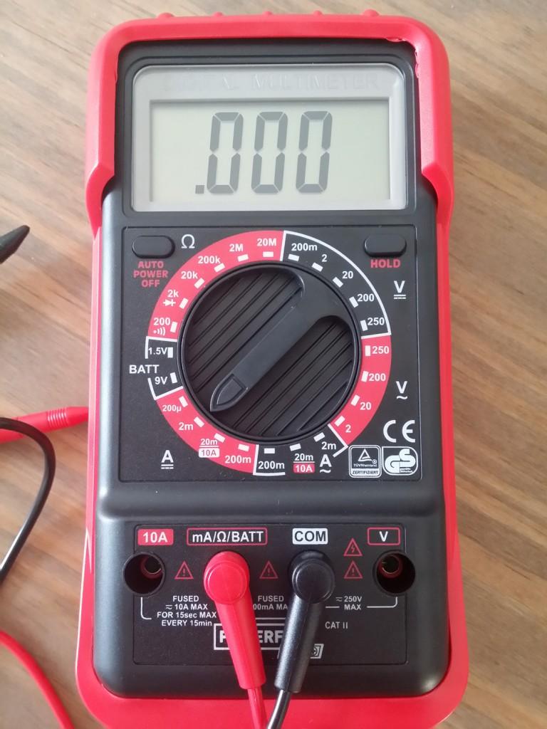 multimetre reglé en ampermètre